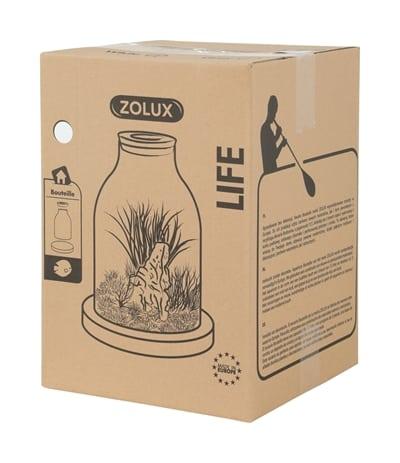 Zolux life bottle fles glas witte rand met kurk (27X27X36,5 CM)