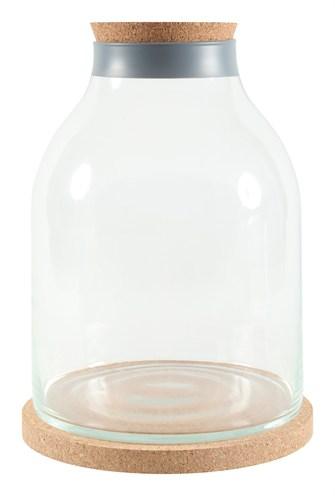 Zolux life bottle fles glas grijze rand met kurk (27X27X36,5 CM)
